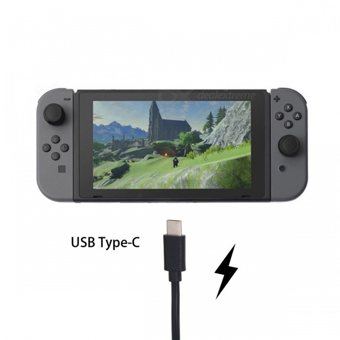 USB Type-C Fast Charging Data Sync Cable For Nintendo Switch Game Console Black