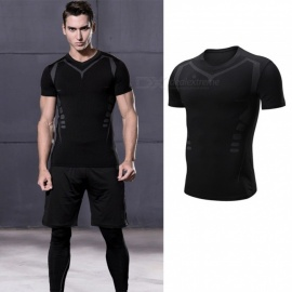 Quick-Drying-Breathable-Skinny-Short-Sleeve-T-Shirts-Mens-Casual-Sports-High-Elasticity-Fitness-Clothes-BlackM