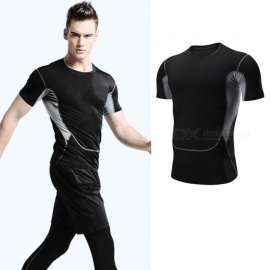Quick-Drying-Breathable-Skinny-Short-Sleeve-T-Shirts-Mens-Sports-High-Elasticity-Fitness-Clothes-BlackM