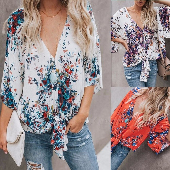 New-Ruffled-Umbilical-Top-Floral-Three-Quarter-Flare-Sleeve-Shirt-Sexy-Loose-Women-V-Neck-Straps-Bow-Chiffon-Shirts-Sky-BlueS