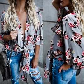 Floral-Print-Shirts-Deep-V-Collar-Lantern-Three-Quarter-Sleeve-Blouses-Bow-Belt-Sexy-Tops-Clothing-For-Womens-GrayS