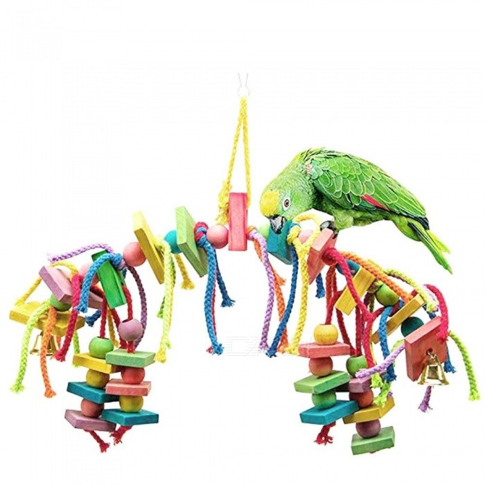 Image of Wood Colorful Parrot Toys Macaw Pet Bird Chew Toys Hanging Swing Cage Toys For Parrots Assorted