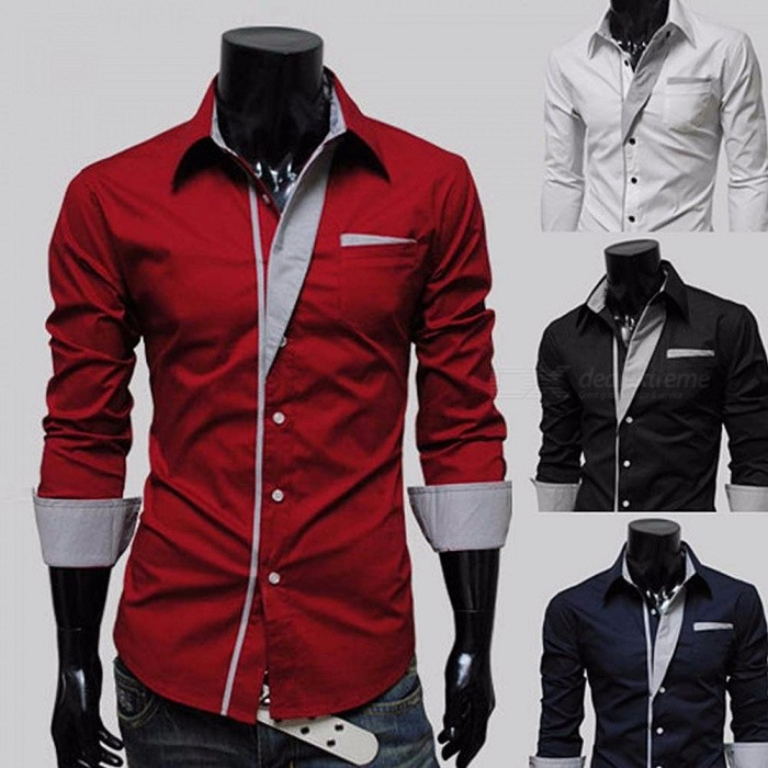 Spring Men's Shirts Long Sleeve Business Casual Stitching Shirt High Quality Black/M