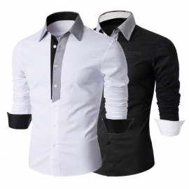 Contrast-Color-Fashion-Long-Sleeve-Mens-Shirt-Casual-Turn-Down-Collar-Slim-Fit-Shirt-For-Men