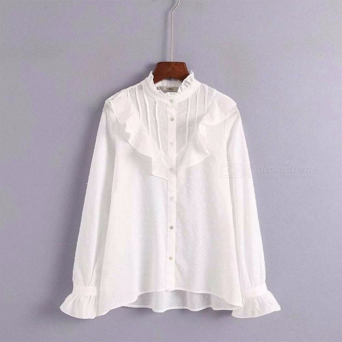 174411e92c3 Women\'s Shirts Pleated Tulle Top White Ruffles Chiffon Blouse Frill Stand  Collar Flare Long Sleeve Lady Shirt White/S