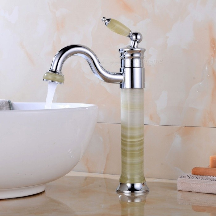 Brass-Chrome-360-Degree-Rotatable-Deck-Mounted-Ceramic-Valve-One-Hole-Bathroom-Sink-Faucet-w-Single-Handle