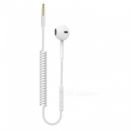 Cwxuan 3.5mm Unilateral Coiled Spiral In-Ear Headset Wired Earphone w/ MIC and Volume Control - White