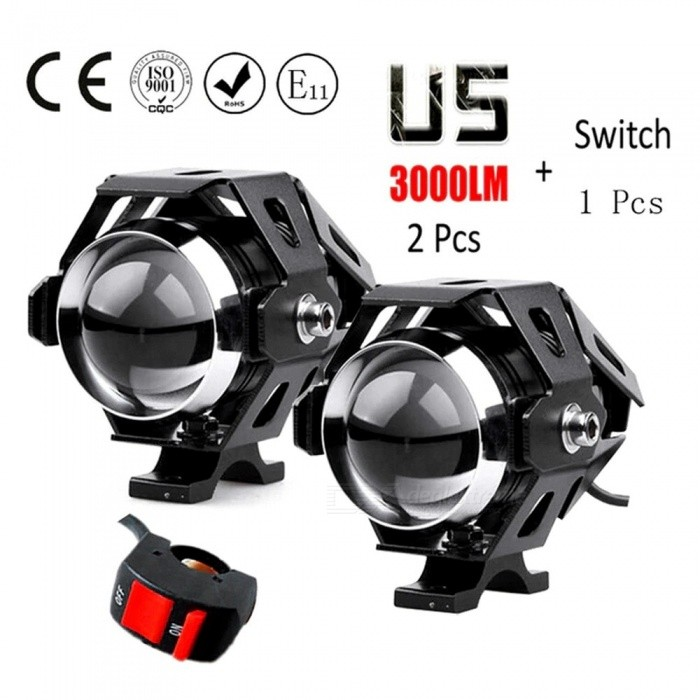2Pcs-125W-Motorcycle-Headlights-Auxiliary-Lamp-U5-LED-Motorbike-Spotlight-12V-Moto-DRL-Spot-Head-Light