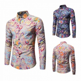 Casual Fashion Long Sleeve Colorful Floral Blouse Shirt Tops For Men Khaki/M