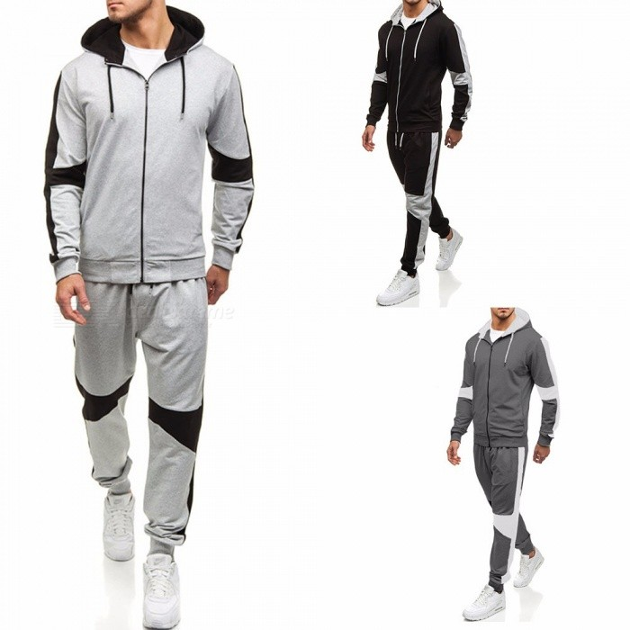 Mens-Patchwork-Drawstring-Hooded-Zipper-Casual-Outdoor-Sport-Loose-Hoodies-Trousers-Set-BlackM