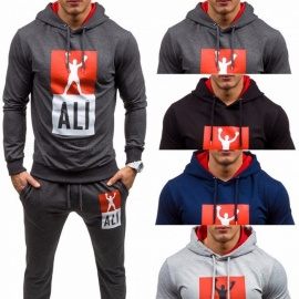Mens-Boxing-Champion-Print-Drawstring-Hooded-Pullovers-Hoodies-Trousers-Set-BlackM
