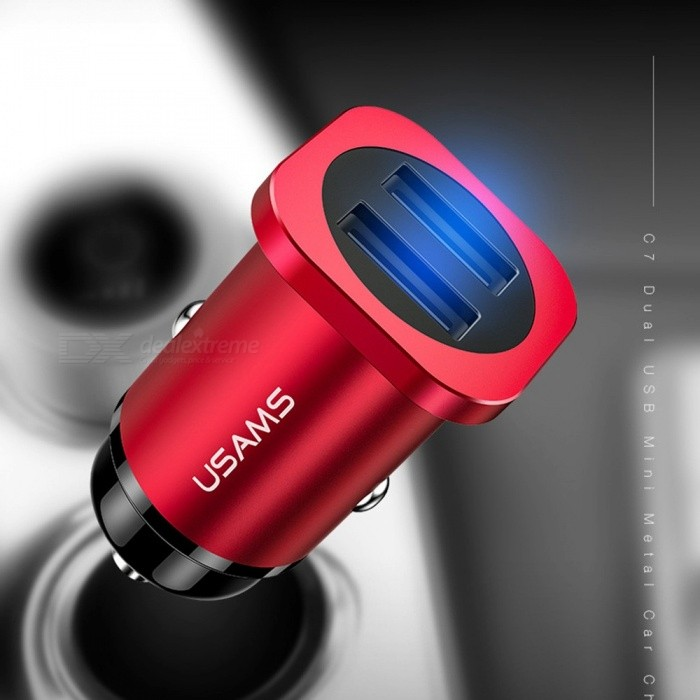 USAMS C7 Universal Phone Charger For Car Cigarette Lighter Dual USB 4.8A Mini Car Fast Charger