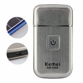 KEMEI KM-5088 USB Rechargeable Single Blade Electric Shavers Portable Stainless Steel Razors