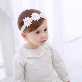 Fashion Toddler Headband Children\'s Cute Baby Band Lace Flowers Girl Elastic Bands Headwear Hair Accessories White