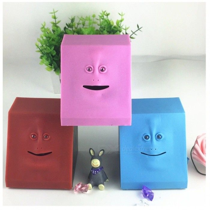 Buy Face Money Eating Box Cute Facebank Piggy Money Coins Saving Bank For Children Toys Gift Home Decoration Red with Litecoins with Free Shipping on Gipsybee.com