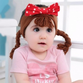 Baby Headwear Fashion Baby Girl Princess Wig Headbands Pigtail Bow For Kids Hairband Accessories Black