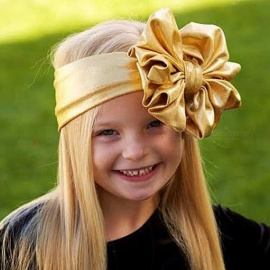 Gold Metallic Foil Bow Baby Headbands Girls Bow Shimmer Shiny Headwear Accessories MY-0013 Black