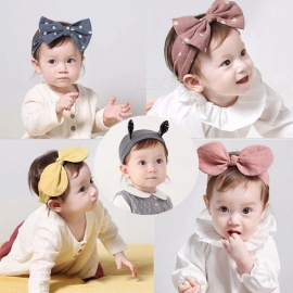 Kids Headbands Girls Baby Ribbon Elastic Turban Toddler Bow Hair Band Accessories Gray