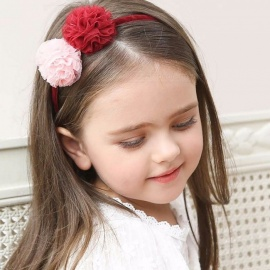 Floral Headgear Baby Hair Band Girls Chiffon Flower Crystal Hairbands Party Hair Accessories Red