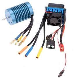3650 4370KV 4P Brushless Motor and 45A Brushless Electric Speed Controller ESC for 1/10 RC Off-Road Car