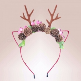 Christmas Hairbands For Women And Girls DIY Padded Deer Antlers Chiffon Flower Hair Accessories Red