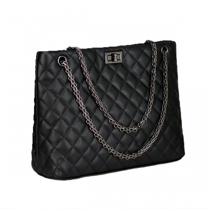Rhombus-Pattern-Fashion-PU-Bag-For-Women-Multifunction-Handbag-Shoulder-Bag-Black