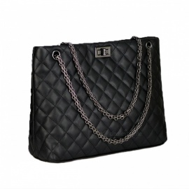 Rhombus Pattern Fashion PU Bag For Women Multifunction Handbag Shoulder Bag Black