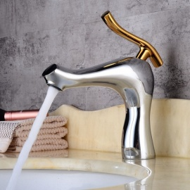 Contemporary Brass Chrome One-hole Bathroom Sink Faucet With Ceramic Valve, Single Handle