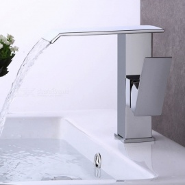 Contemporary Brass Waterfall Chrome Ceramic Valve One-Hole Bathroom Sink Faucet w/ Single Handle