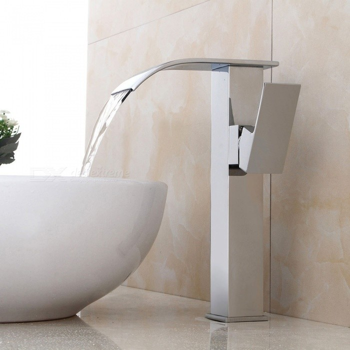 Contemporary-Brass-Waterfall-Chrome-Ceramic-Valve-One-Hole-Bathroom-Sink-Faucet-w-Single-Handle