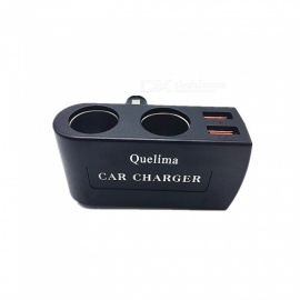 Quelima Car Double Hole Cigarette Lighter Car Charger Dual USB Car Charger QC3.0 Car Charger