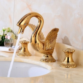 Luxury Series Swan Shape Brass Ceramic Valve Three Holes Ti-PVD, Bathroom Sink Faucet w/ Two Handles