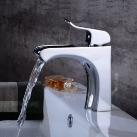 Contemporary Brass Waterfall Chrome One-Hole Bathroom Sink Faucet with Ceramic Valve, Single Handle
