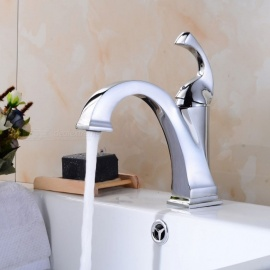 Contemporary Brass Chrome Ceramic Valve One-Hole Bathroom Sink Faucet w/ Single Handle
