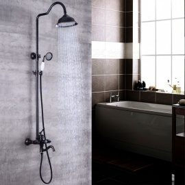 "Hotel luxury series Wall Mounted Brass Oil-rubbed Bronze Bath Shower Faucet Set 8"" Rain Shower Head + Hand Shower Spray"