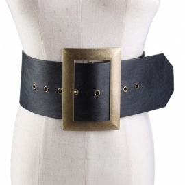 Fashion PU Wide Waist Belt For Women Metal Buckle Dress Belt Black