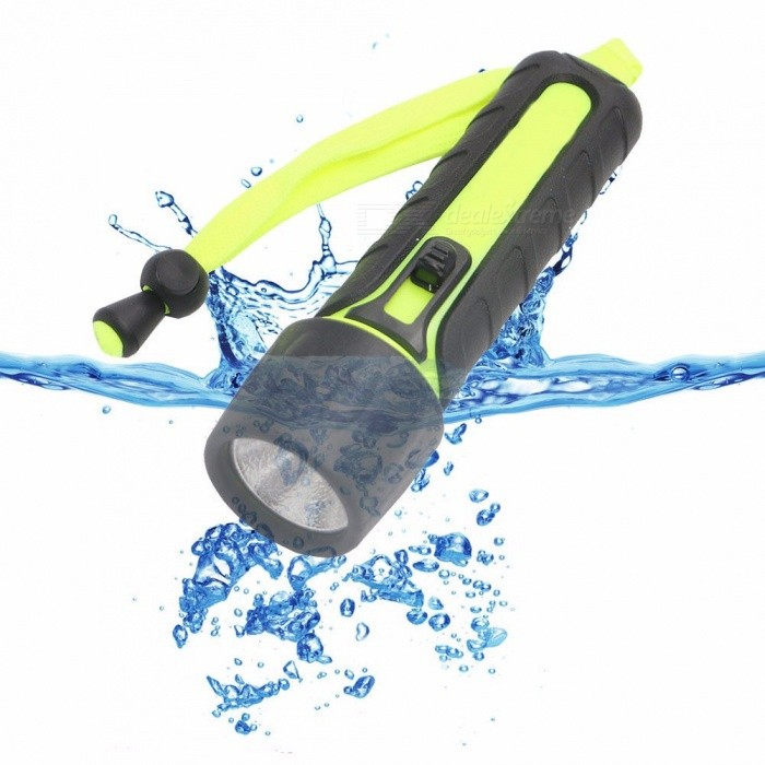 LED Strong Light 4*AA Flashlights Outdoor Waterproof Lighting 3W Diving Lights White/Green