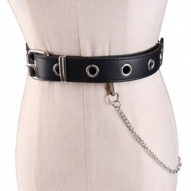 Waist Belt Chain Punk Hip-hop Trendy Women Belts Ladies Fashion Cowboy Steel Pin Buckle Waistband Jeans Camel/105cm
