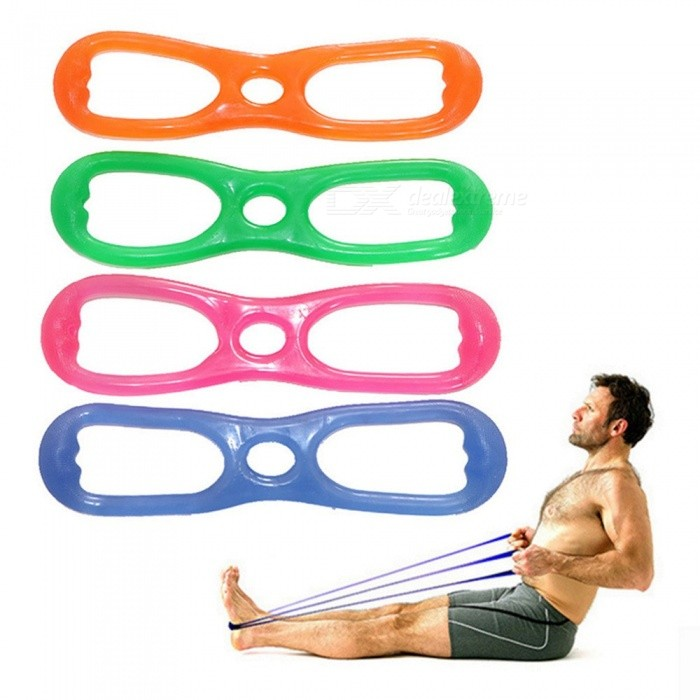 Silicone Elastic Stretch Fitness Rope Bodybuilding Bands 8 Word Developer Muscle Exercise Yoga Belts Random Color