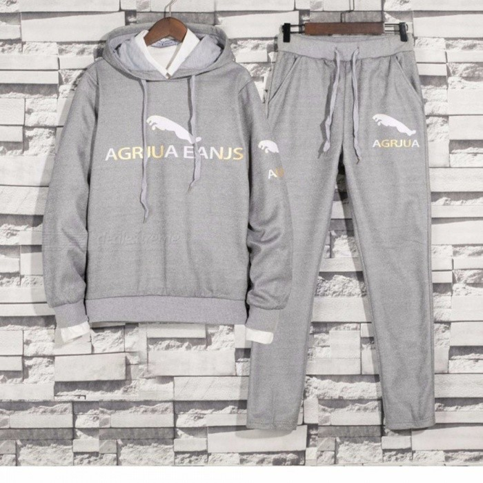 New-Mens-Autumn-Casual-Hooded-O-Neck-Hoodies-Elastic-Waist-Trousers-Letter-Print-Set-Sport-Clothes-BlackM