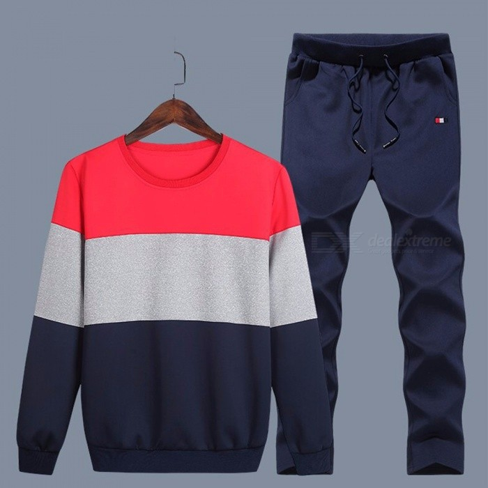 Mens-O-Neck-Patchwork-Casual-Hoodies-Drawstring-Trousers-Set-Sport-Pullovers-Set-Navy-BlueM