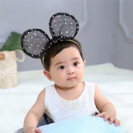 New Full Sweet Cute Mickey Ear Lace Hair Hoop Headbands For Kids Girls Hair Accessories Black
