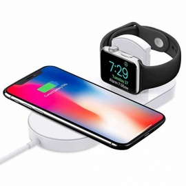 Cwxuan 2-in-1 Wireless Fast Charger for Apple Watch Series 3/2/ iPhone X/8/8 Plus Samsung Galaxy S8/S9/Plus/Note 8 Note9 /S7