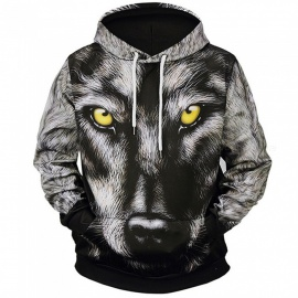 LM807002# Autumn Winter Fashion Wolf head Digital Printing Men/Women Hooded Hoodies Cap Windbreaker Jacket 3d Sweatshirts - M