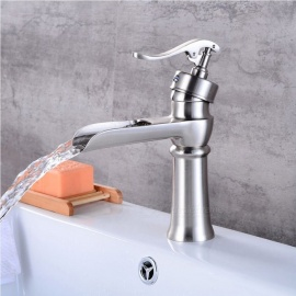 Contemporary Brass Waterfall Brushed Ceramic Valve One-Hole Bathroom Sink Faucet w/ Single Handle