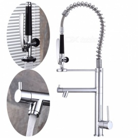 Brass Chrome Pull-out/­Pull-down 360 Degree Rotatable One-Hole Kitchen Faucet with Ceramic Valve, Single Handle