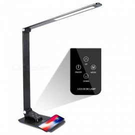 YouOKLight 7W Dimmable Desk Lamp with Wireless Charger, USB Charging Port, Adjustable Table Lamp for Office, Bedroom or Dorm