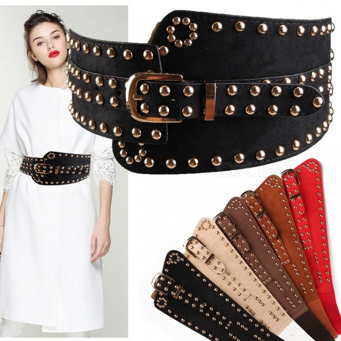 Fashion-Punk-Rocker-Rivet-Suede-Wide-Belt-For-Women-European-Style-Vintage-Elastic-Women-Waistband-With-Metal-Buckle-Black