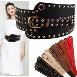 Fashion Punk Rocker Rivet Suede Wide Belt For Women, European Style Vintage Elastic Women Waistband With Metal Buckle Black