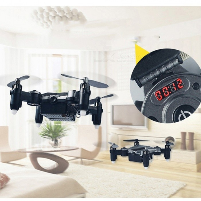 DH-800 Watch Style Mini FPV Folding Remote Control Airplane, Wi-Fi RC Drone Quadcopter Toy For Kids Silver